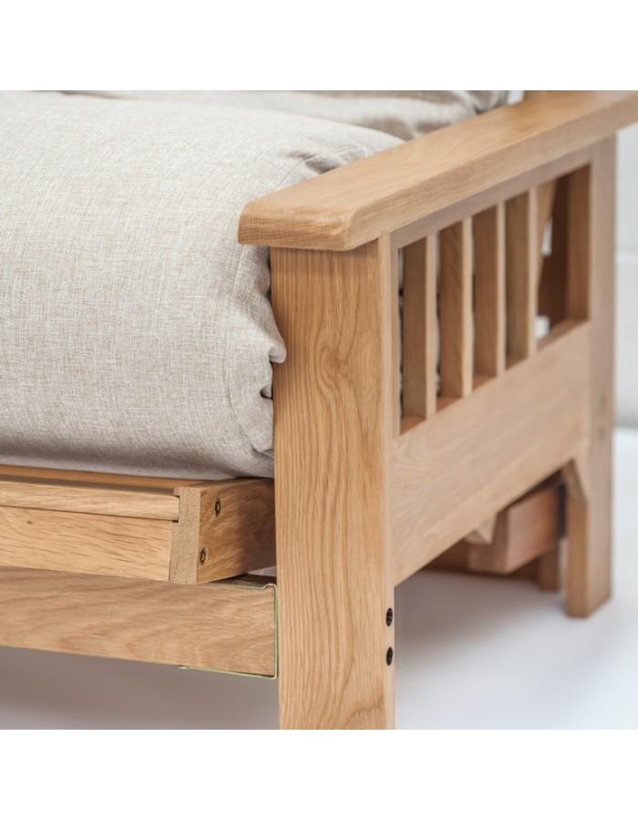 close up detail of the lovely oak timber frame  cavendish oak 2 seat futon sofa bed   free uk mainland delivery   rh   futons247 co uk