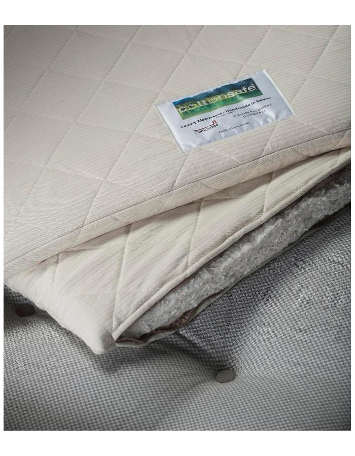cottonsafe mattress topper organic cotton   wool covering fabric cotton rich inner layers cottonsafe mattress topper   chemical free natural   made in devon  rh   futons247 co uk