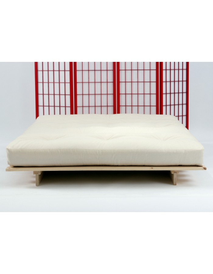 the traditional 8 layer futon mattress on our eco futon bed in natural drill fabric  futon mattress   8 layer lambswool and wool felt   uk delivery  rh   futons247 co uk