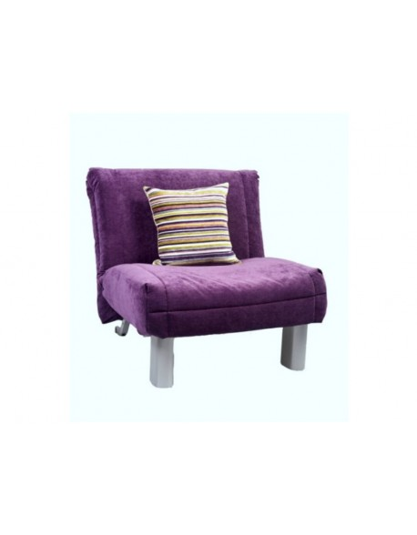 Leila compact chair bed in Mulberry soft chenille fabric.