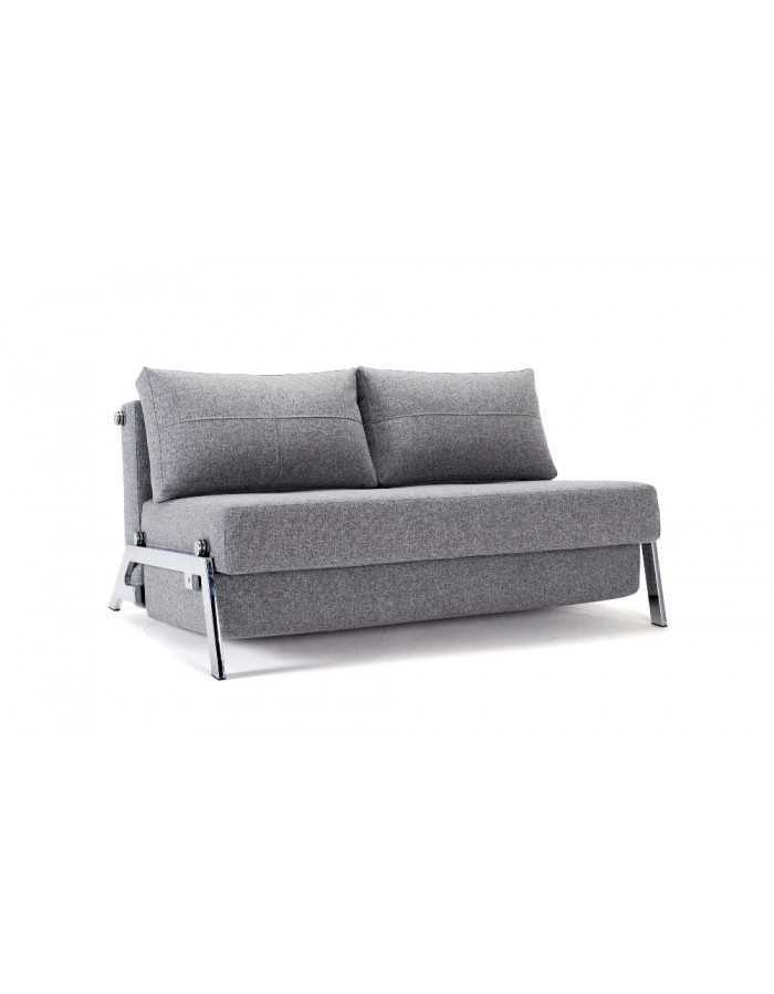 Innovation Cubed Chrome 140 Sofa Bed | Compact comfort UK delivery.