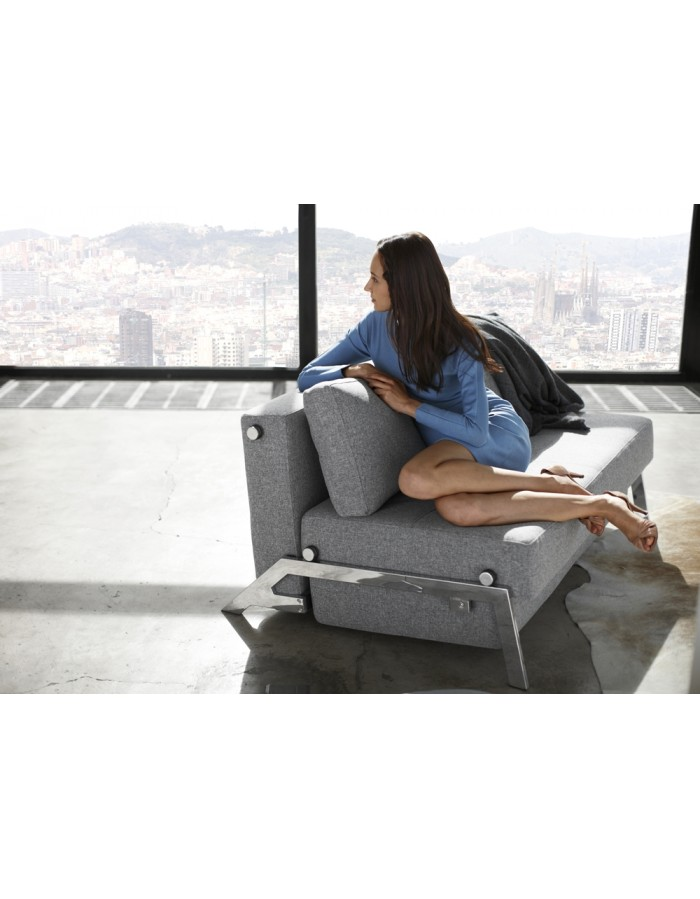 Innovation Cubed Chrome 140 Sofa Bed Compact Comfort Uk