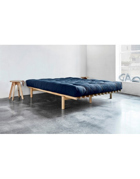 The Pace futon bed in Natural finish with Navy futon mattress