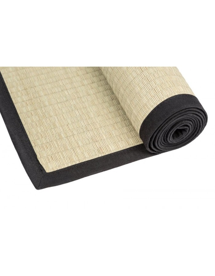 Traditional japanese goza mat for yoga 90 x 200 cm black for 90 x 200 beds