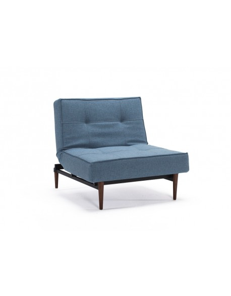 Innovation Splitback Chair in Mixed Dance Light Blue fabric with Dark Wood Styletto legs