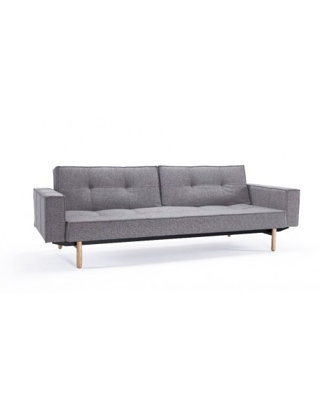 The Innovation Living Splitback Sofa Bed with arms in Mixed Dance Grey fabric
