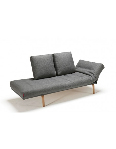 Innovation Rollo Daybed in Twist Granite fabric with Bow Legs