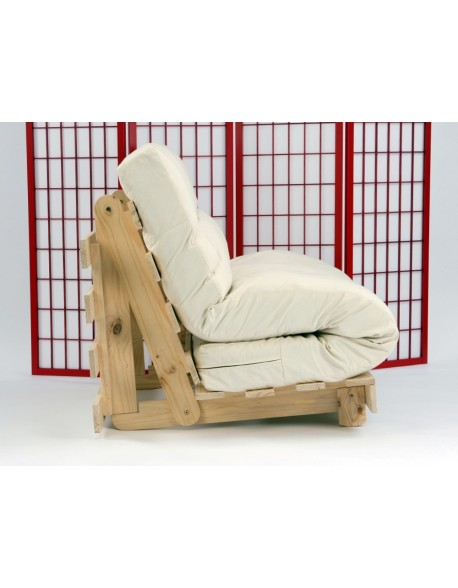 Tri Fold type futon mattress fits on two seat sofa bed bases in a semi 'S' shape.