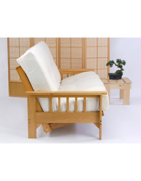 Bi Fold futon mattress fits on three seat sofa bed bases with one fold down the middle.