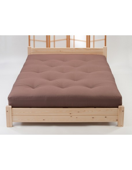 A Pocket FutoFlex mattress in Mocha Brown Drill on one of our Osaka bed frames.