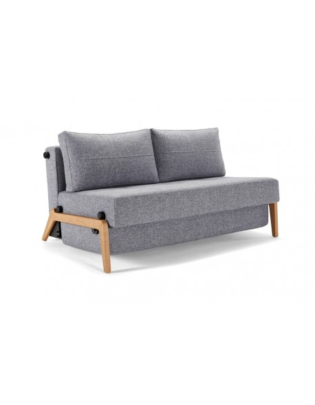Innovation Cubed Wood 140 in sofa position - Twist Granite fabric